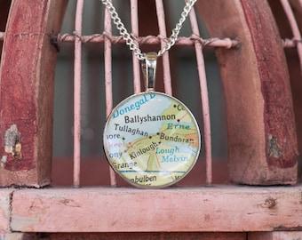 Vintage Ireland Map Necklace - Ballyshannon