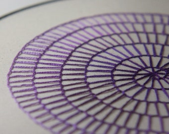 Hand Embroidered Purple Spiral in Metal Hoop