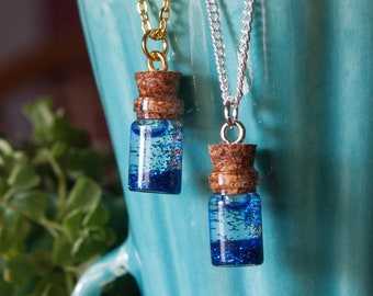 Bright Blue Glitter Jar Necklace, Anxiety Calming