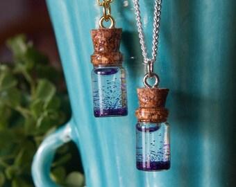 Purple Glitter Jar Necklace, Anxiety Calming