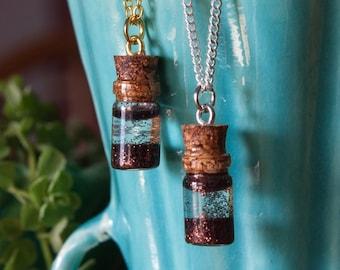 Bronze Glitter Jar Necklace, Anxiety Calming