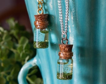 Green Glitter Jar Necklace, Anxiety Calming