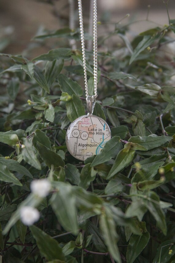 Algonquin Illinois Map.Vintage Illinois Map Necklace Algonquin Lake In The Hills Etsy