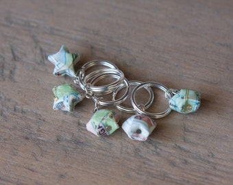 Vintage Chicago Map Stitch Markers - Set of 5