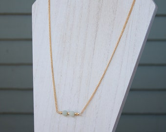 Frosted Amazonite Bar Necklace