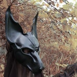 Black leather mask of Anubis, Egyptian Jackal god..made to order