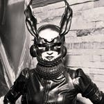Black rabbit, vampire bunny leather mask