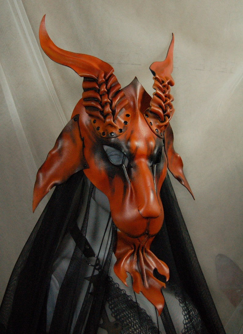 Leather mask of Baphomet goat in rust and black *Made to order 2 weeks*
