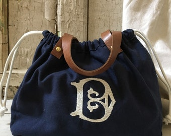 7c851623f Knitting Project Bag Knitting Tote Gift For Knitter knitting Bag drawstring  tote Monogram Tote Canvas tote leather straps