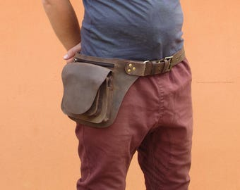 Leather Utility Belt Rugged Hunter Leather - Multipocket Hip Belt Bag - HB19k * Free Shipping*