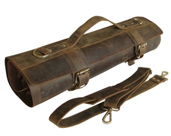 Leather Knife Roll Chefs Bag Deluxe Knife Case  Leather Roll for Chefs - Bedouin X - 7 Holders