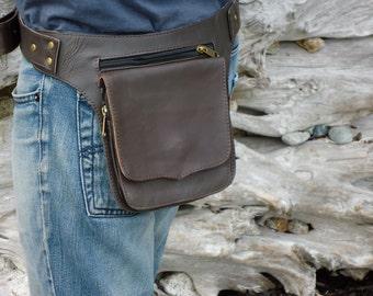 Belt Bag leather Utility Pocket Belt Bag in Brown