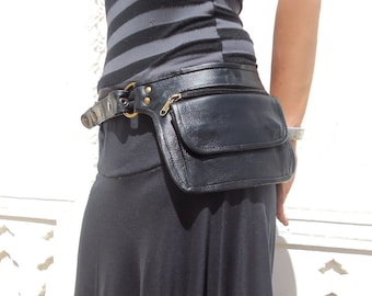 Leather Utility Belt Bag Hip Pouch and Travel Belt in Black
