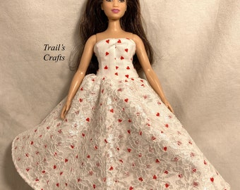 Handmade For Curvy Barbie Doll Clothes 11.5 Inch Female Fashion Doll Dress Style 8 White With Red Hearts