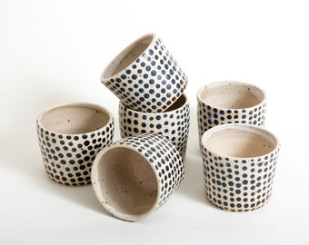 Ceramic tumbler, Pottery gift, Black white cup, Handmade Coffee cup, Gift for her, Farmhouse style cup, Unique beaker, B/W cup, Polka dots