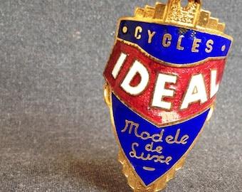 Vintage IDEAL bike badge collector enamel plate.