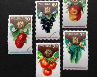 Eat your greens. Fun retro series of vintage vegetables stamps from Poland.