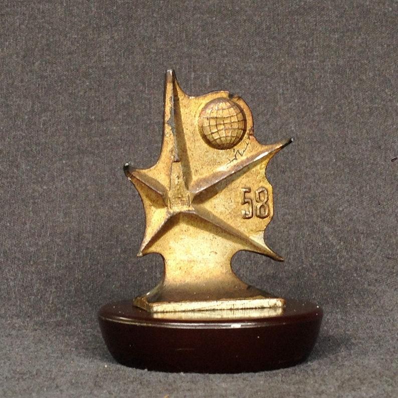 Brussels 1958 World Exposition Universelle commemorative souvenir trophy medal award Retro fifties Fair memorabilia Star and golden Globe.