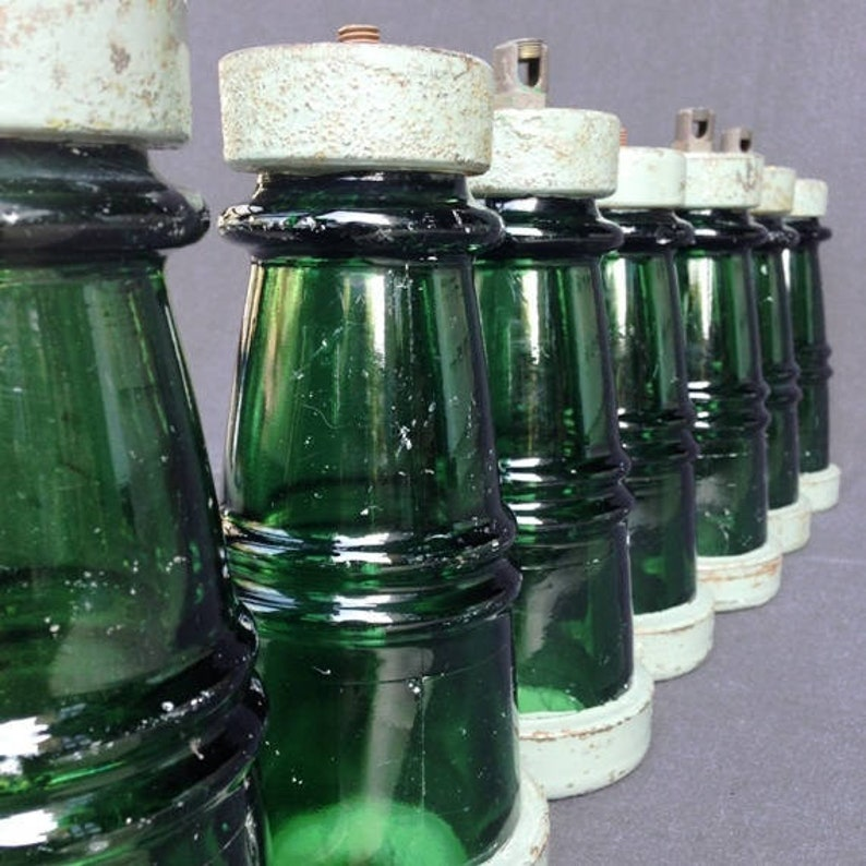 Rare retro indus collectibles Antique rescued industrial green glass insulator PRICE FOR ONE.