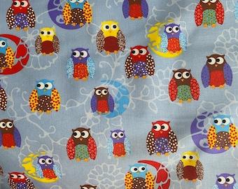 Cotton fabric owls fabric meterware patchwork fabric, children's fabric, colorful