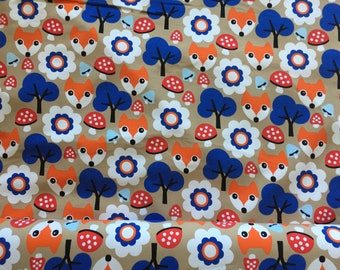 Cotton jersey with cute foxes Swafing Vincente