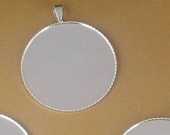 50 Brass Shiny Silve Plated 20mm/ 25mm Round Bezel Setting W/ Pendant Bails Cabochon Mountings Pendant Trays- Z8127
