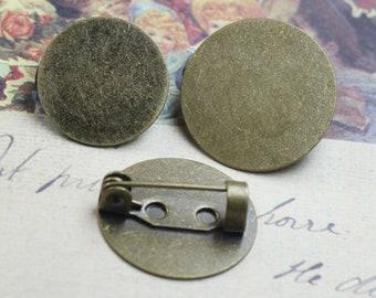 20 Brass Easy Lock Pin Brooch W/ 15mm / 18mm Round Pad Base Setting Antique Bronzed Glue on Blank Brooch Base