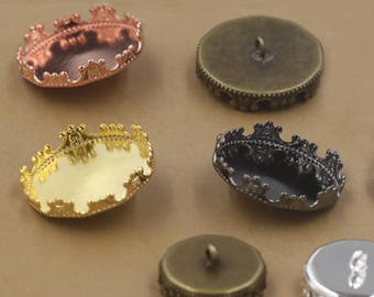 40 Brass Round Bezel Button Base 12mm/ 15mm/ 20mm/ 25mm Crown Edged Antique Bronze/ Silver/ Gun-black/ White Gold/ Gold/ Rose Gold