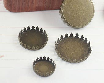 50 Brass 12mm/ 15mm/ 20mm/ 25mm Round Bezel Setting Crown Edged Antique Bronzed Cabochon Mountings Pendant Trays - Z6179