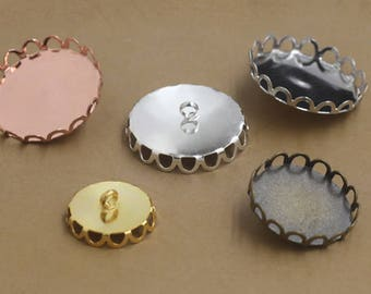 50 Brass Lace Edged 10mm/ 12mm/ 14mm/ 15mm/ 16mm/ 18mm/ 20mm/ 25mm Round Bezel W/ Back Ring Antique Bronze/ Silver/ Gold/ White Gold