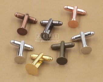20 Brass Antique Bronze/ Silver/ Gold/ Rose Gold/ Platinum/ Gun-Metal Plated Cufflink W/ 6mm/ 8mm/ 10mm/ 12mm Round Pad Glue-on Base Setting