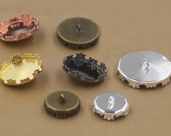 20 Brass Round Bezel Button Base 12mm/ 15mm/ 20mm/ 25mm Crown Frame Antique Bronze/ Silver/ Gun-black/ White Gold/ Gold/ Rose Gold