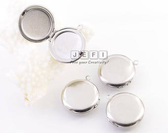 10 316L Stainless Steel Plain Lockets 27mm Round Photo Frame Base Setting Wholesale Pendant Locket