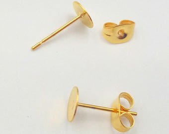 100 Earring Posts- 316L Stainless Steel 24k Gold Plated Glue-on Ear Studs W/ 3mm/ 4mm/ 5mm/ 6mm/ 8mm Round Pad Base Setting Plus Ear Nuts