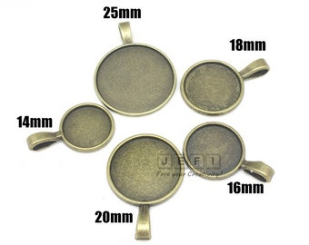Pendant Trays 14mm/ 16mm/ 18mm/ 20mm/ 25mm Round Bezel Setting W/ Loop Antique Bronzed Zinc Alloy