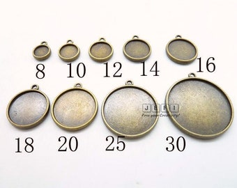 Zinc Alloy Double Sided 8mm/ 10mm/ 12mm/ 14mm/ 16mm/ 18mm/ 20mm/ 25mm/ 30mm Round Bezel Setting W/ Ring Antique Bronze