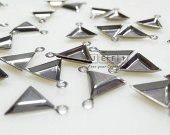 100 Stainless Steel 7mm (inner) Triangle Bezel Setting Wholesael pendant trays cabochon mountings