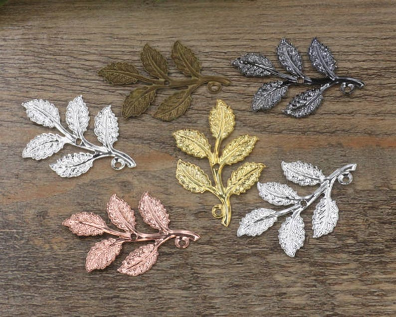 Wholesale 50 Brass Filigree Leaves Tree Branch 32x50mm Raw Brass Antique Bronze Silver Gold Rose Gold White Gold Gun-Metal Plated