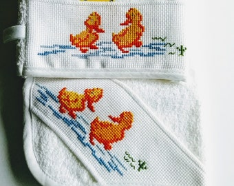 Little Duckies Cross Stitch Baby Bath Set,Burp Towel, Wash Mitt, Baby Shower Gift
