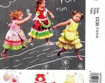 McCall's 6730- Sundress Pattern and Bag Pattern-Size 1,2,3,4 Out of Print Child Layered Patchwork Sundress Easy Sewing Pattern