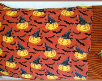 Halloween Jack o' Lanterns, Bats & Spiders Embroidered Standard Pillowcase