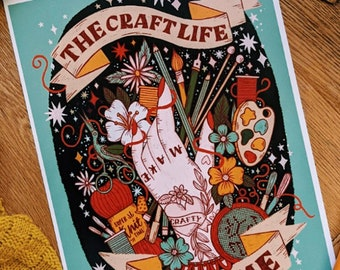 A4 Art Print | The Craft Life Chose Me | Hand Lettering Illustration