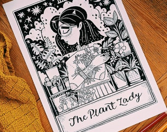 A4 Art Print | The Plant Lady Tarot | Hand Lettering Illustration