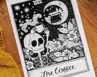 A4 Art Print | Coffee Tarot Card | Hand Lettering Illustration