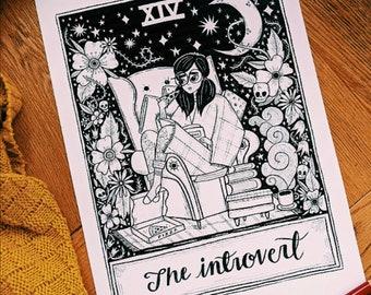 A4 Art Print | The Introvert Tarot | Hand Lettering Illustration
