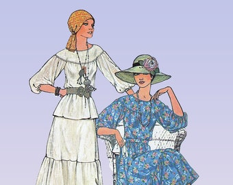 1970s Dress Pattern - SIMPLICITY 7467 - Peasant Style Dress  - Tiered Gathered Skirt and Top - Simplcity Patterns - Boho Dress - Bust 30.5