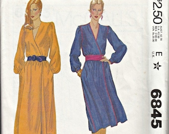 1970's Mock Wrap Pullover Dress Pattern  McCall's 6845 Designer Charlotte Ford   1979 American Hustle Pattern UNCUT, Factory-folded  Bust 36