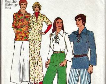 1970's Boho Separates Pattern SIMPLICITY 5711 Lace-Up Tunic and High Waisted Bell Bottoms  1973 Retro Pattern UNCUT, Factory-Folded  Bust 36