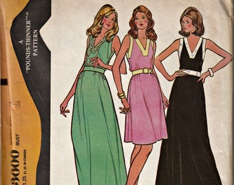 1970's V-Neck Summer Dress  McCall's 3600 Vintage Dress Pattern Out of Print Retro 1973 Dress Pattern UNCUT, Factory Folded  Bust 16