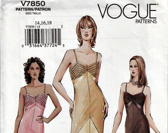 2004 Bias Cut Slip Dress with Insets and Tucks  VOGUE 7850  2004 Out of Print Pattern 1930's Style Slip Dress UNCUT, Factory-Folded 14-16-18